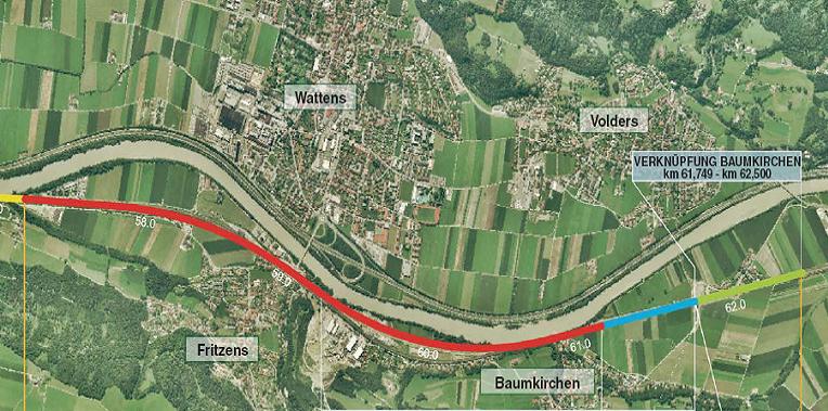 Grundriss der Trasse im Bereich Fritzens-Baumkirchen